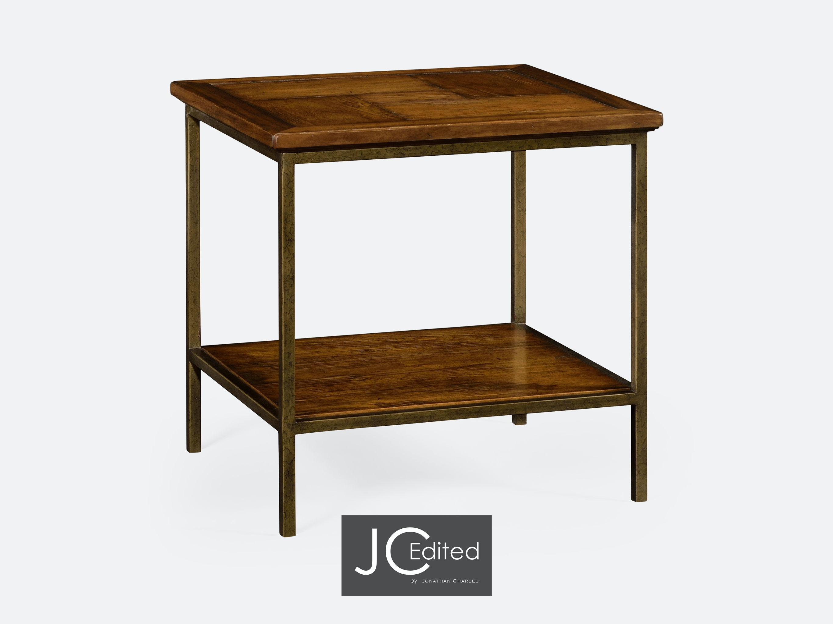 Country Walnut Square End Table With Light Bronze Base