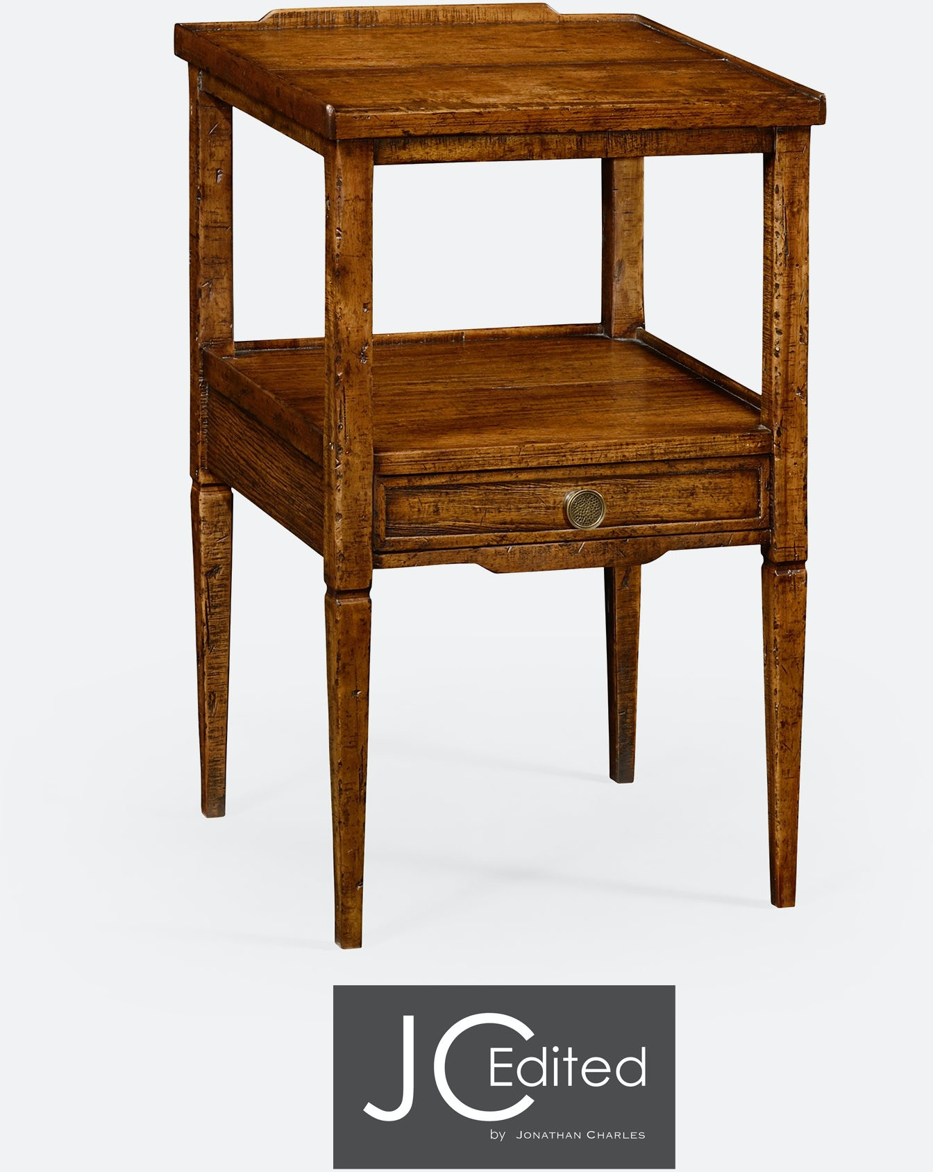 Jonathan Charles Living Room Walnut Square Lamp Table With