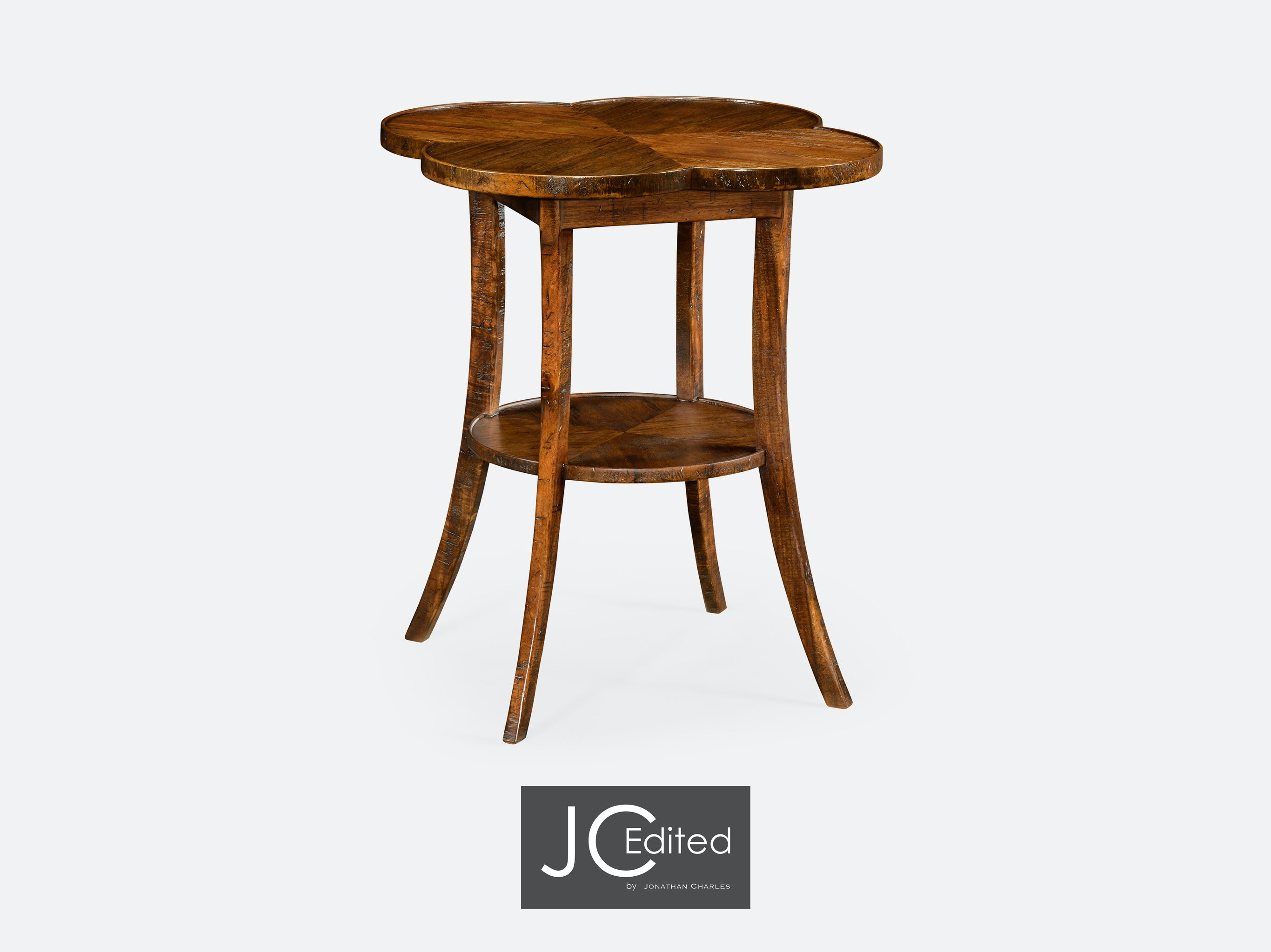 Jonathan Charles Living Room Quatrefoil Lamp Table In Country Walnut  491043 CFW   Penn Furniture   Scranton, PA