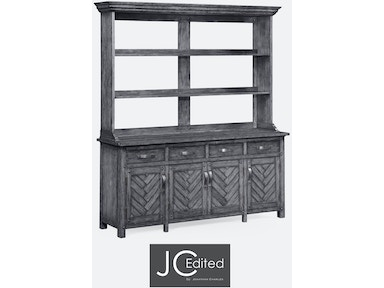 Jonathan Charles Antique Dark Grey Parquet Welsh Dresser With Strap Handles 491066 ADG