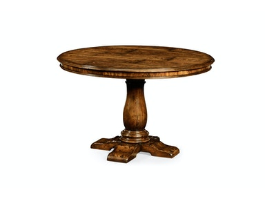"Jonathan Charles 48"" Distressed Crotch Walnut Pedestal Table 493345-48D"