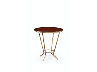 Jonathan Charles Leather Top & Gilded Iron Side Table