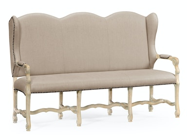 Jonathan Charles Upholstered Three-Seater Bench In Limed Acacia 495440-LMA-MAZO