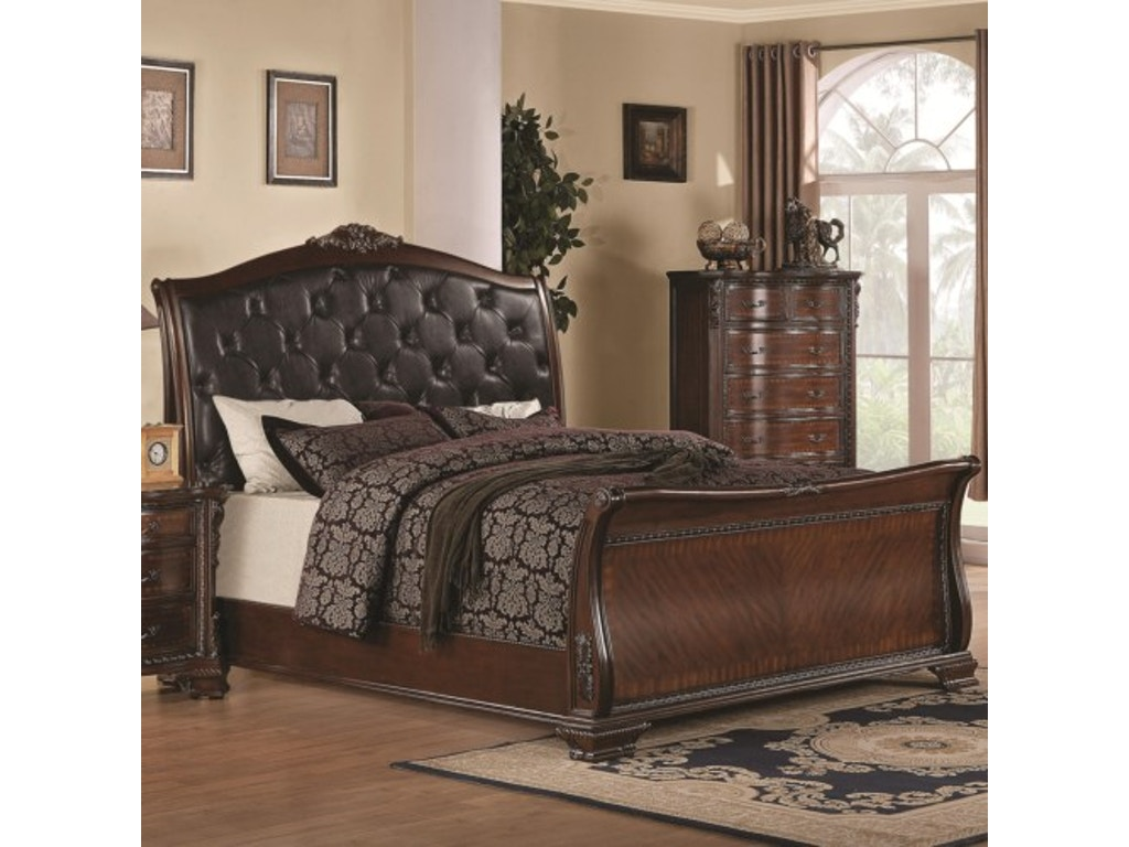 coaster bedroom maddison queen sleigh bed with upholstered headboard