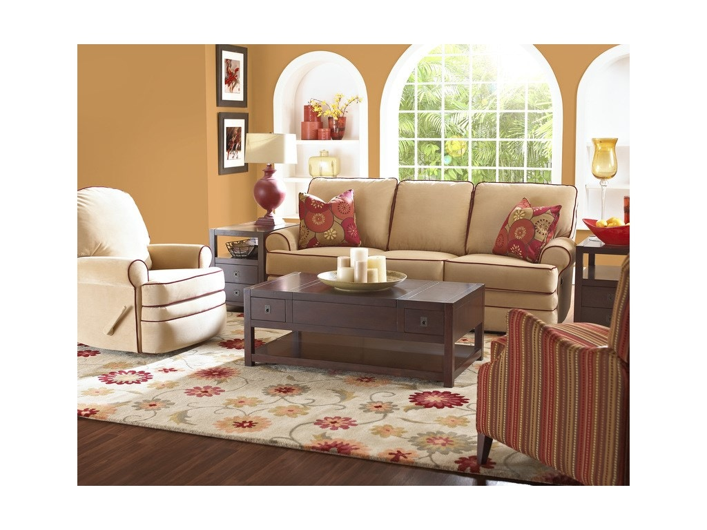 Klaussner living room belleview reclining sofa 21303 rs for Living room queen creek