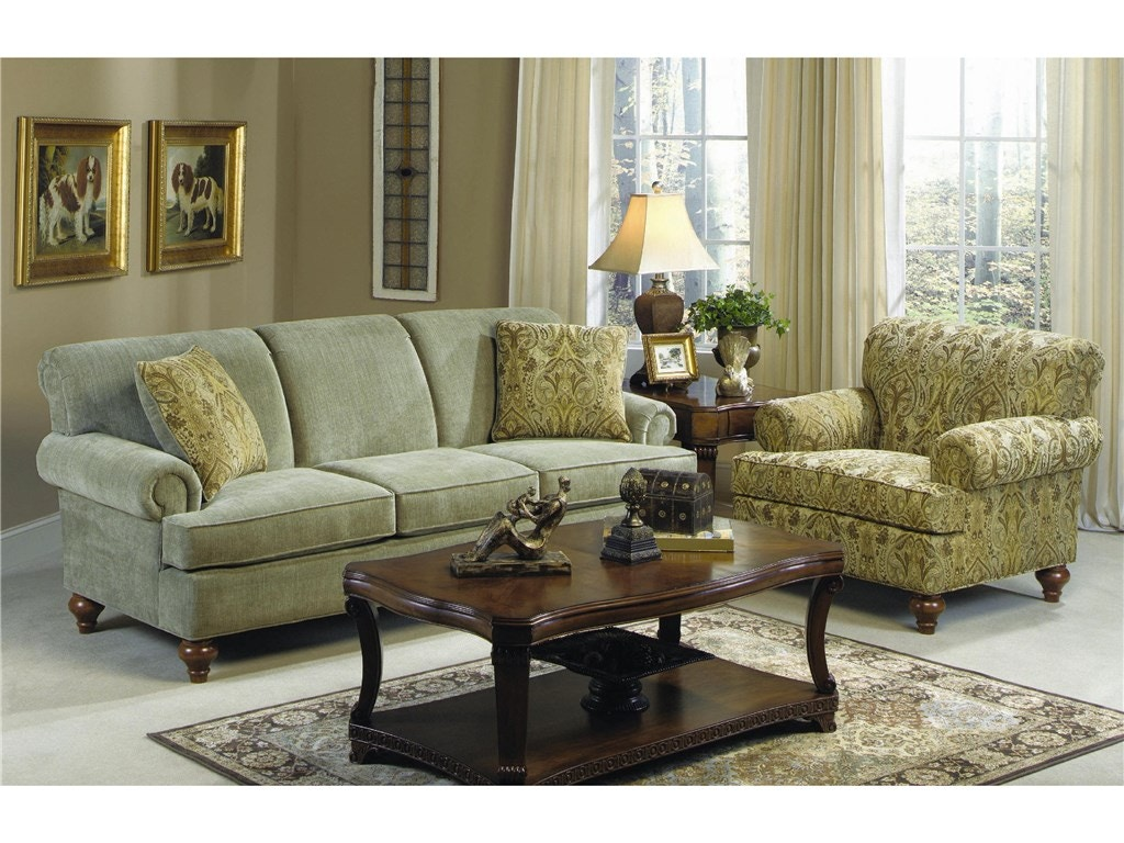 Craftmaster living room three cushion sofa 704750 for Living room queen creek