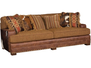 Casbah Fabric Sofa With Track Arm, Loose Border Back, Modern Leg, And Leather/Fabric