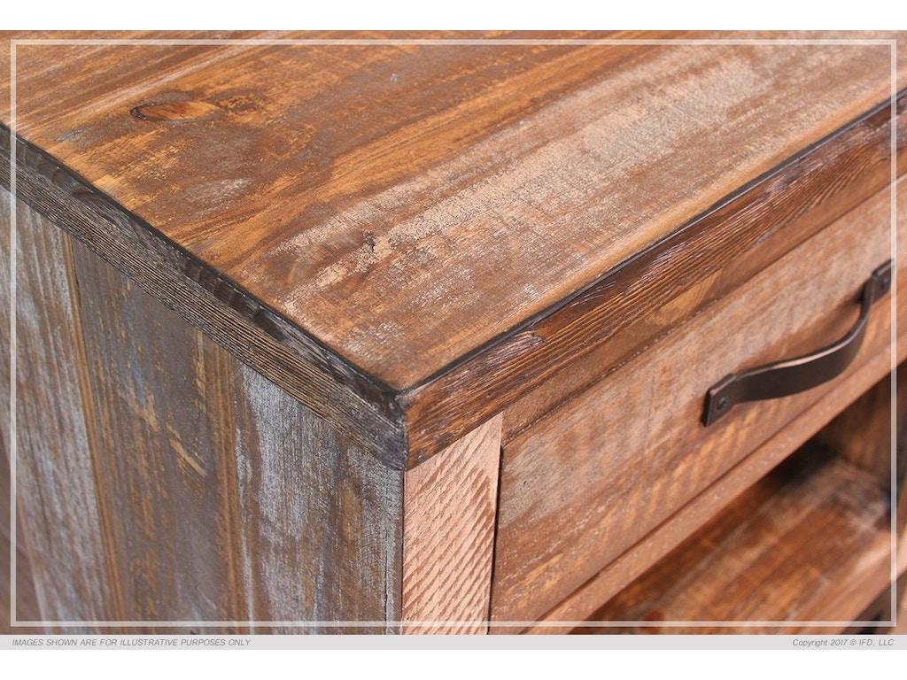 International Furniture Direct Rustic / Reclaimed wood ,Queen complete  Platform Bed IFD900PLTFRM-Q