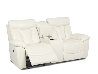 Klaussner Deluxe Console Glider Reclining Loveseat 517435