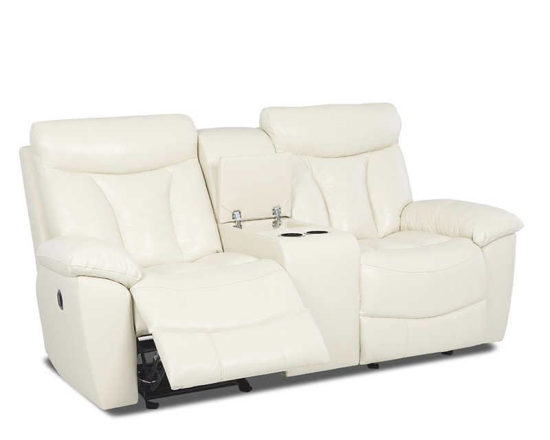 klaussner deluxe console glider reclining loveseat