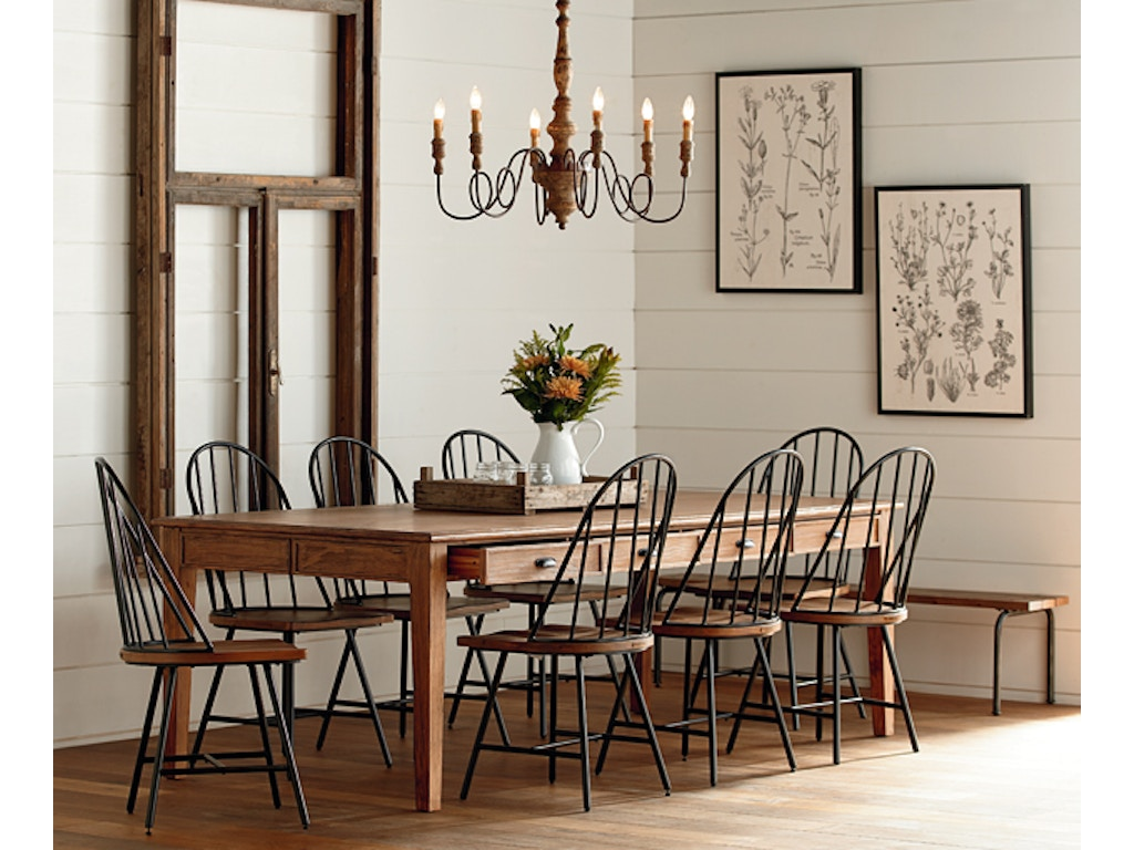 Magnolia home dining room table dining keeping 8 39 bench for Magnolia dining table
