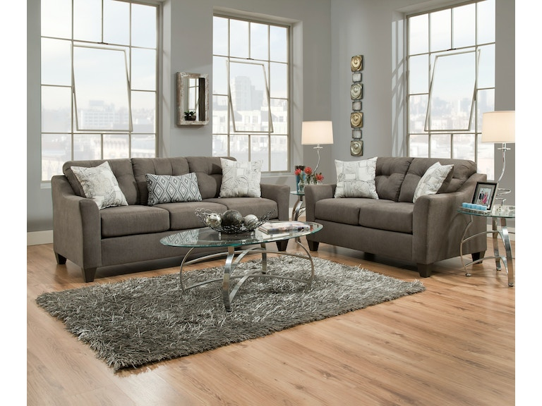 Simmons Upholstery Living Room Sofa in Encino Charcoal 4315S ...