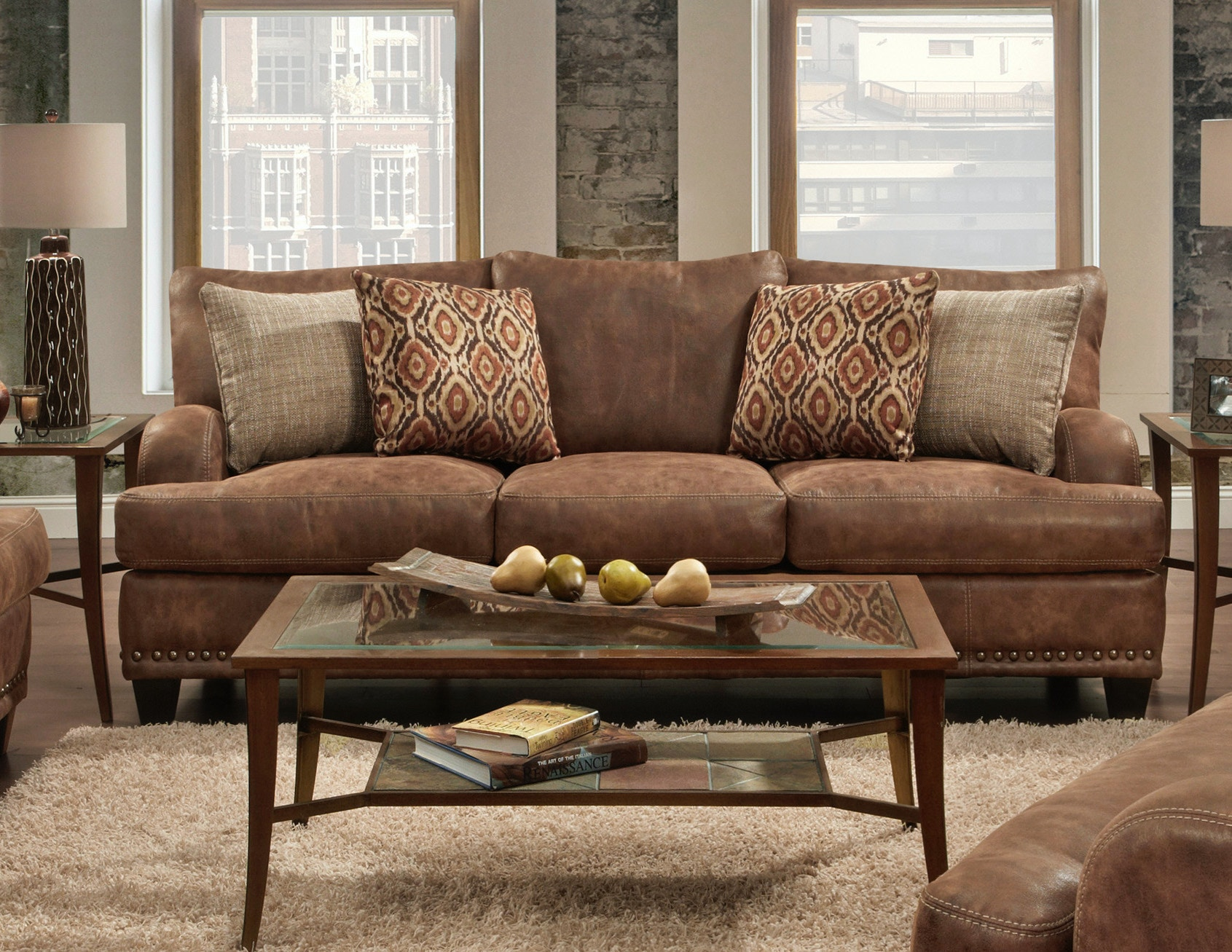 leather sofa brown faux set and loveseat seat covers