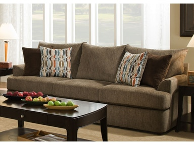 Simmons Upholstery Grandstand Sofa in Walnut 8540BRS
