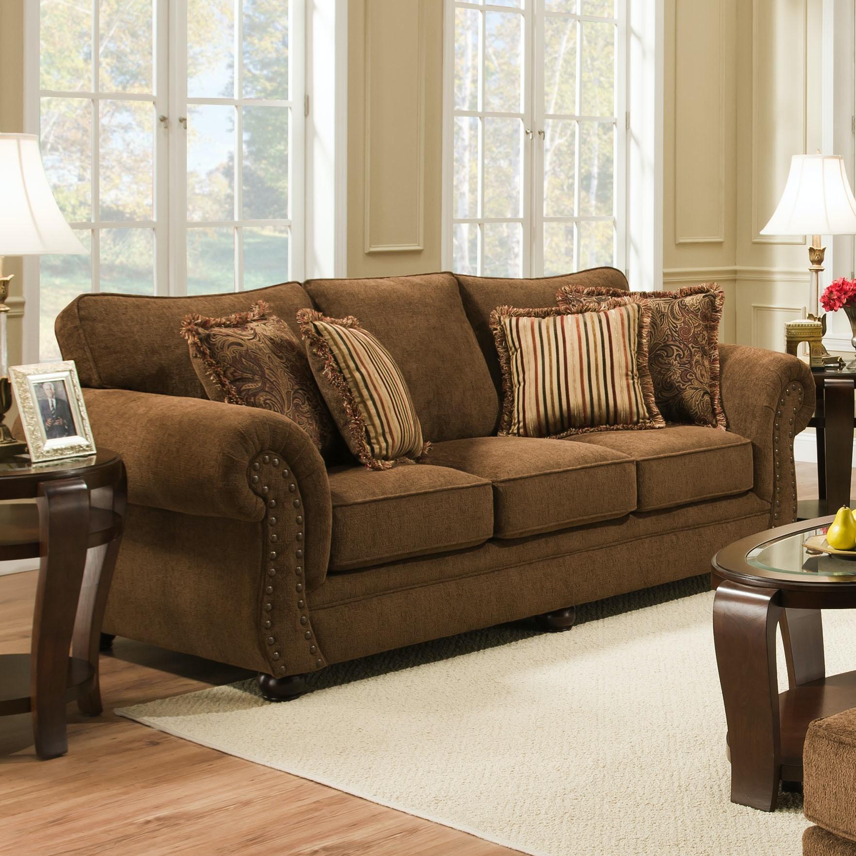 Simmons Upholstery Living Room Outback Chocolate Sofa 4277S