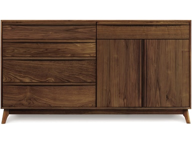 Copeland Catalina Dresser in Walnut with 4 drawers on left, 1 drawer over 2 doors on right 2-CAL-72-04