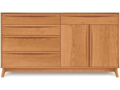 Copeland Catalina Dresser in Cherry with 4 drawers on left, 1 drawer over 2 doors on right 2-CAL-72-03