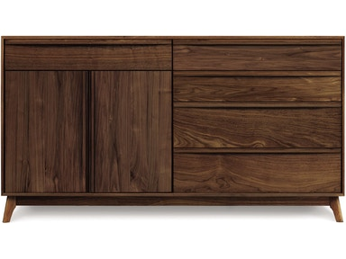 Copeland Catalina Dresser in Walnut with 4 drawers on right, 1 drawer over 2 doors on left 2-CAL-71-04