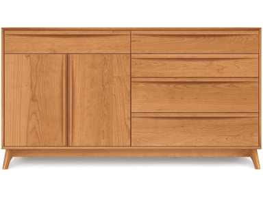 Copeland Catalina Dresser in Cherry with 4 drawers on right, 1 drawer over 2 doors on left 2-CAL-71-03
