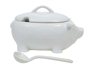 Creative Co-Op Ceramic Pig Soup Tureen with Ladle DA1002
