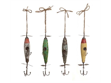 Creative Co-Op Wood & Metal Vintage Reproduction Fishing Lure Hooks DA1289A