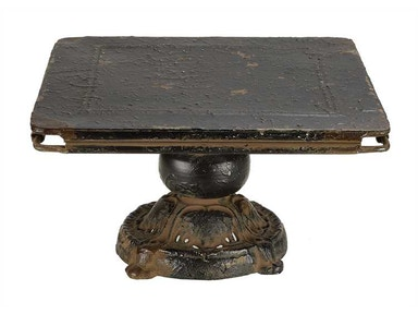 Creative Co-Op Metal Pedestal, Distressed Black DA1602