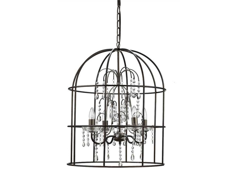 Creative co op lamps and lighting metal birdcage chandelier with creative co op metal birdcage chandelier with crystals 4 lights da1637 aloadofball Images
