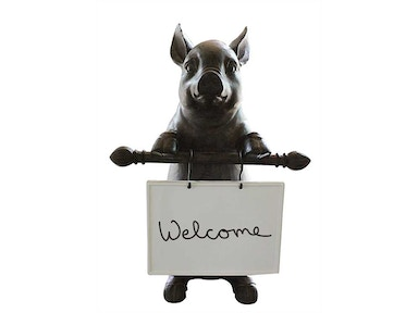 Creative Co-Op Resin Pig with Ceramic Message Board DA1961