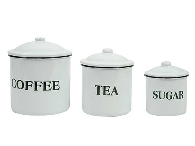 "Creative Co-Op Enameled Metal ""Coffee Tea Sugar"" Containers with Lids, White, Set of 3 DA1985"
