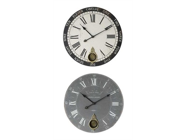 Creative Co-Op 23-inch Round MDF Wall Clock with Pendulum, 2 Styles DA2224A
