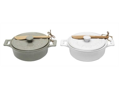 Creative Co-Op Stoneware Brie Baker with Wood Spreader DA2320A