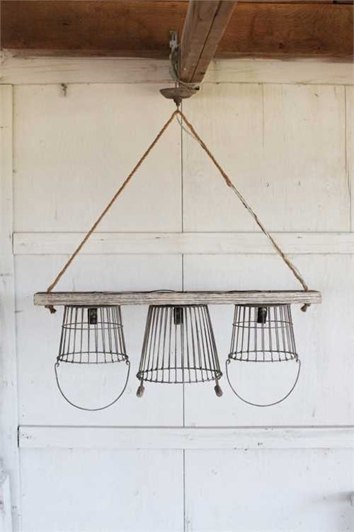 Creative co op lamps and lighting metal wood basket chandelier creative co op metal wood basket chandelier with 3 lights da2845 aloadofball Choice Image