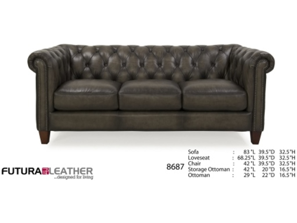 Futura Leathers Living Room Traditional Leather Tufted