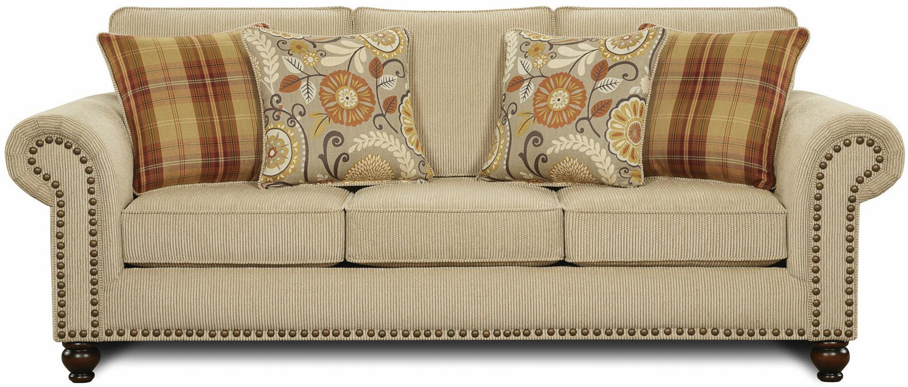 Fusion Living Room Out West Linen Sofa 043792 Furniture