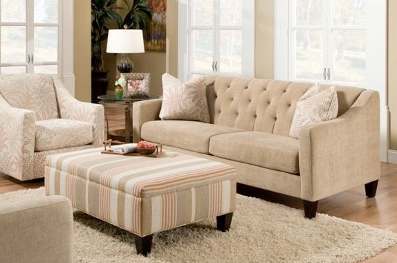 Bauhaus Living Room transitional stlye sofa with tufted back C42A
