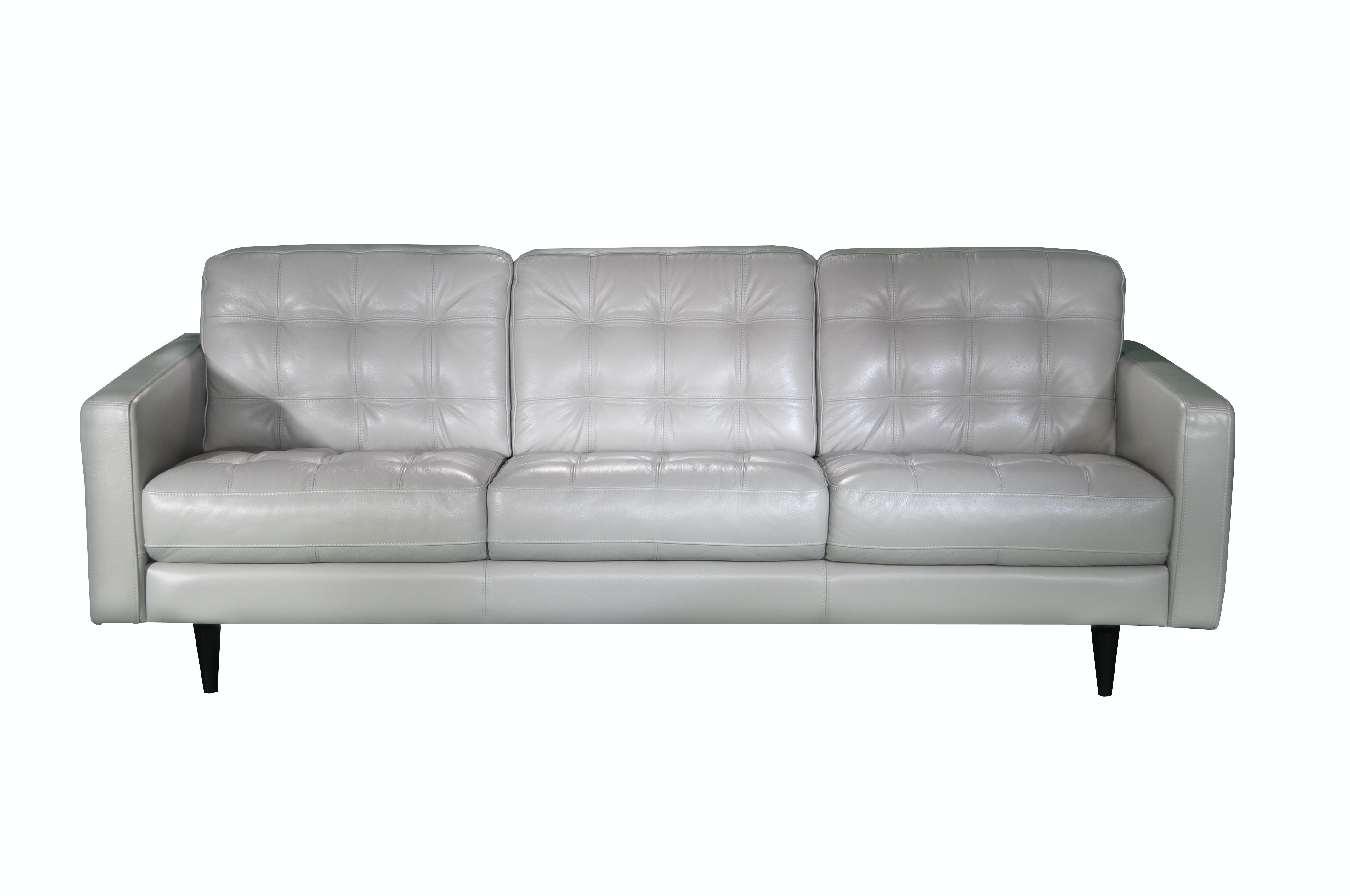 White leather tufted sofa gray color modern tufted for Tufted leather sleeper sofa