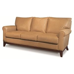 Elite Leather Living Room Apartment Size Sofa With Wood Base 26019 At  Hamilton Sofa U0026 Leather Gallery