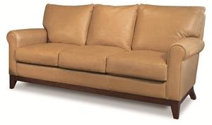 Elite Leather Living Room apartment size sofa with wood base