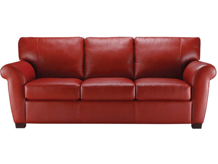 Natuzzi Living Room Transitional Rolled Arm Italian Leather Sofa - Red-italian-leather-armchairs-from-natuzzi