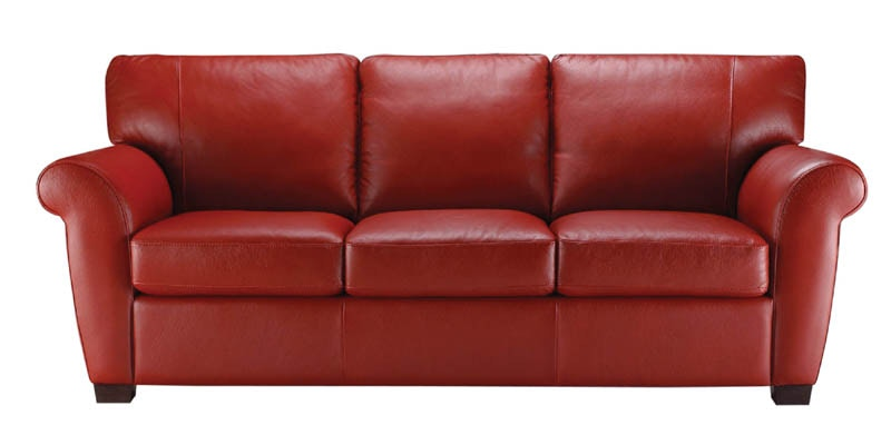 A121. Transitional Rolled Arm Italian Leather Sofa
