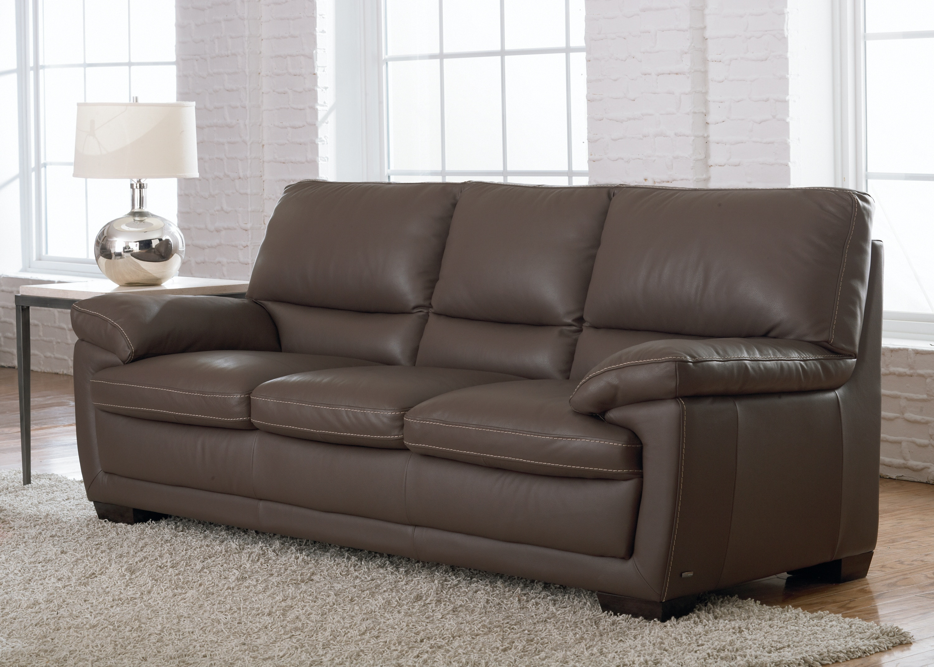 Natuzzi Transitional Italian Leather Sofa B674 Part 89