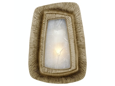 Venice Utopia Asymmetric Sconce in Gild with Fractured Glass KW 2050G-FR