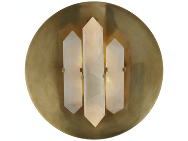 Venice Halcyon Round Sconce in Antique-Burnished Brass and Quartz KW 2090AB/Q
