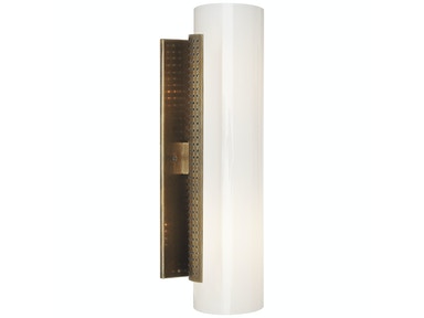 Venice Precision Cylinder Sconce in Antique-Burnished Brass with White Glass KW 2220AB-WG