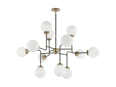 Venice Bistro Medium Chandelier in Hand-Rubbed Antique Brass with White Glass S 5022HAB-WG