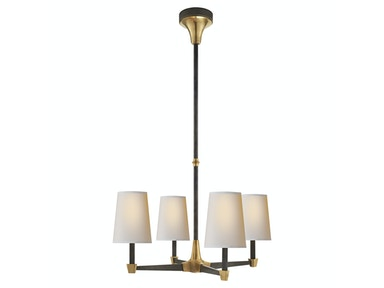 Venice Caron Small Chandelier in Bronze and Hand-Rubbed Antique Brass with Natural Paper Shades TOB 5045BZ/HAB-NP