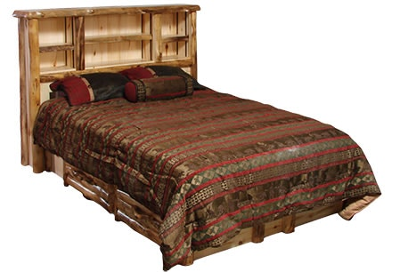 Rustic Log Bedroom Bookcase Headboard Queen In Natural Panel Amp Natural Log Bhea Qu Nn High