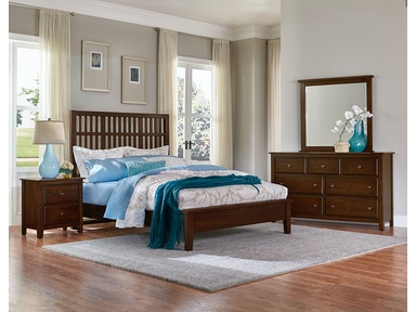 Artisan & Post Artisan Choices - Dark Cherry Craftsman Slat Headboard & Low Profile Footboard ALE-104B