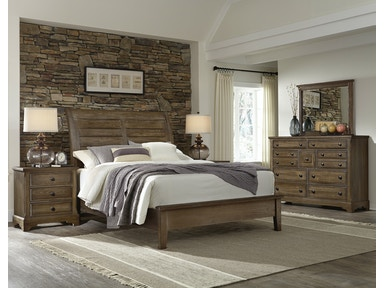 Artisan & Post Artisan Choices - Dark Oak Sleigh Headboard & Low Profile Footboard ALE-106B