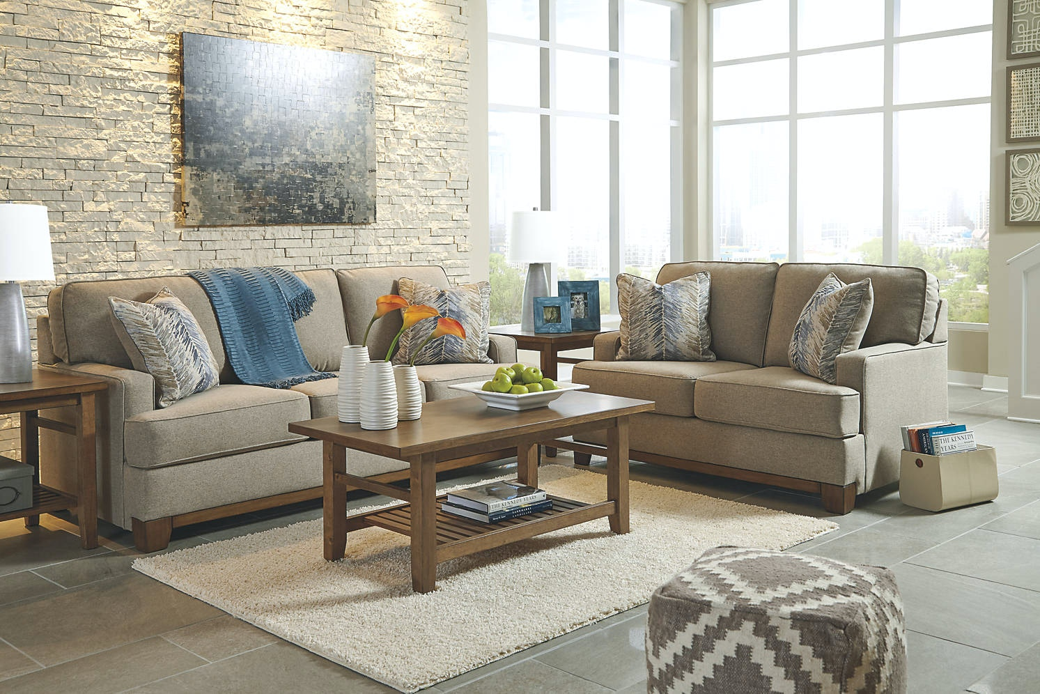 Beau ASHLEY FURNITURE INDUSTRIES ASHLEY HILLSWAY PEBBLE 5 PIECE LIVING ROOM SET  RSPKAS34104A